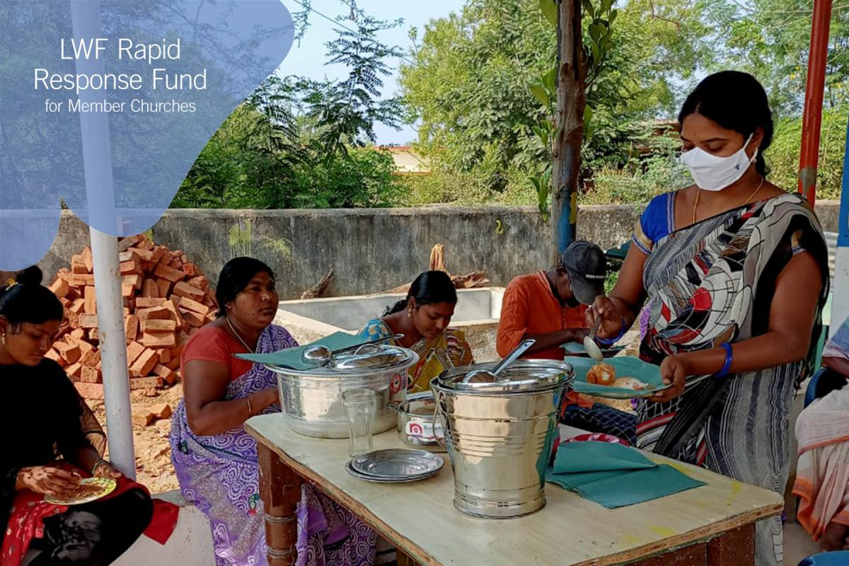 With the LWF Rapid Response Fund, 35 women living in poverty in the UELCI member church areas have regained their livelihoods. A tiffin owner serves lunch. UELCI