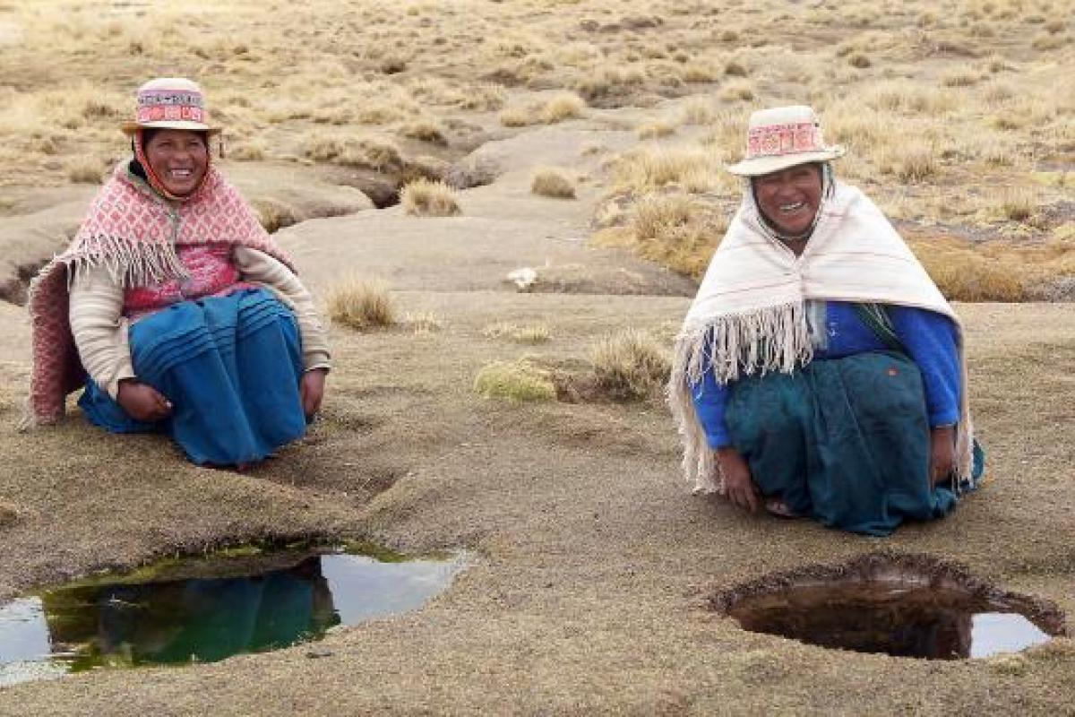 Thanks to an LWF-supported project to bring piped and clean drinking water to the Andean highlands, Filomena Huanaco Casilla (left) and Rosenda Challco Barrera will no longer have to depend on natural but unsafe water sources in their remote village. Photo: LWF/I. Dorji
