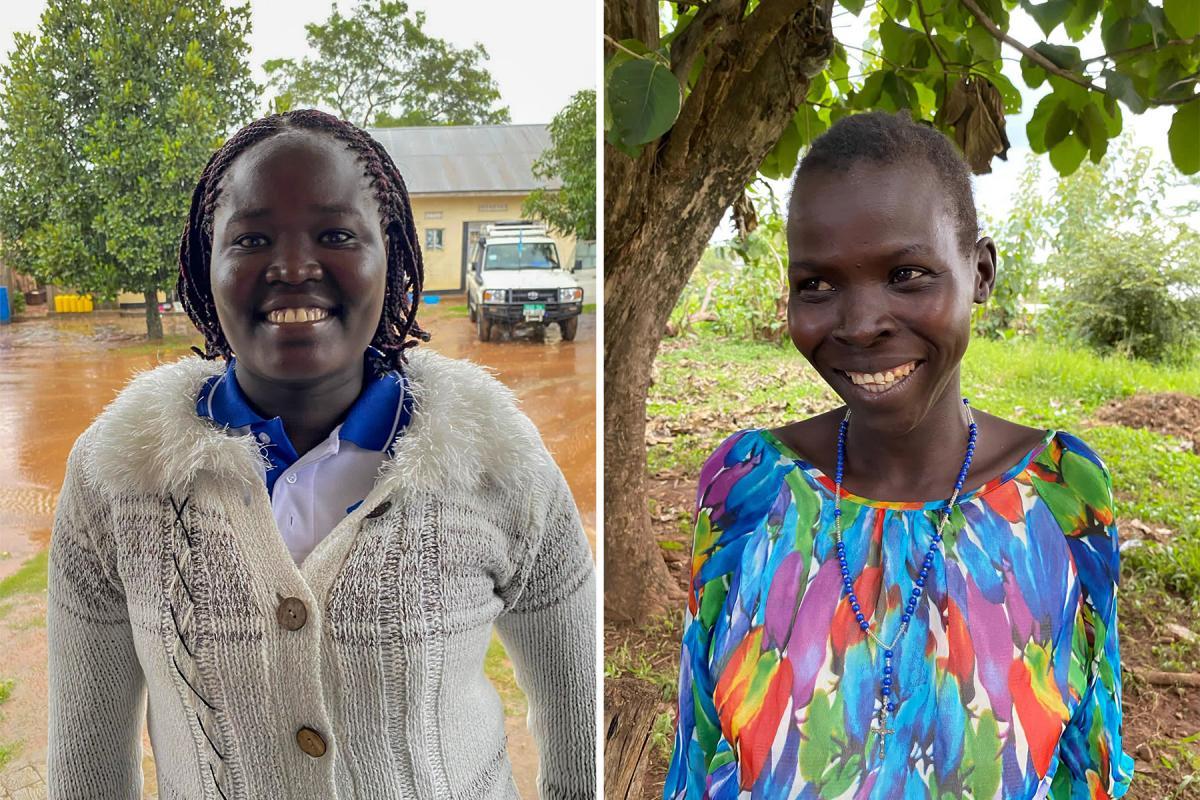 Adyero Paradise (left), a returnee in Magwi County and LWF South Sudan staff member – Lillian (right), a returnee in Magwi County interviewed by LWF South Sudan, September 2021. Photo: LWF/ C. Mattner