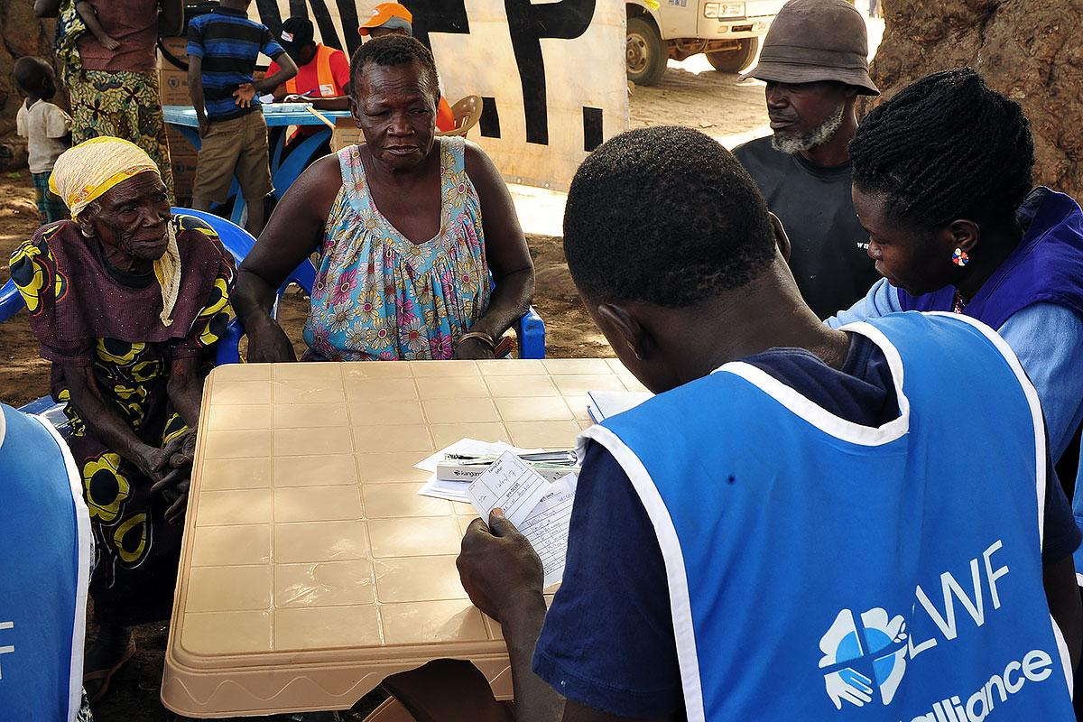 LWF receiving refugees at Lefori collection point, in Northern Uganda. Photo: LWF/ C. Kästner
