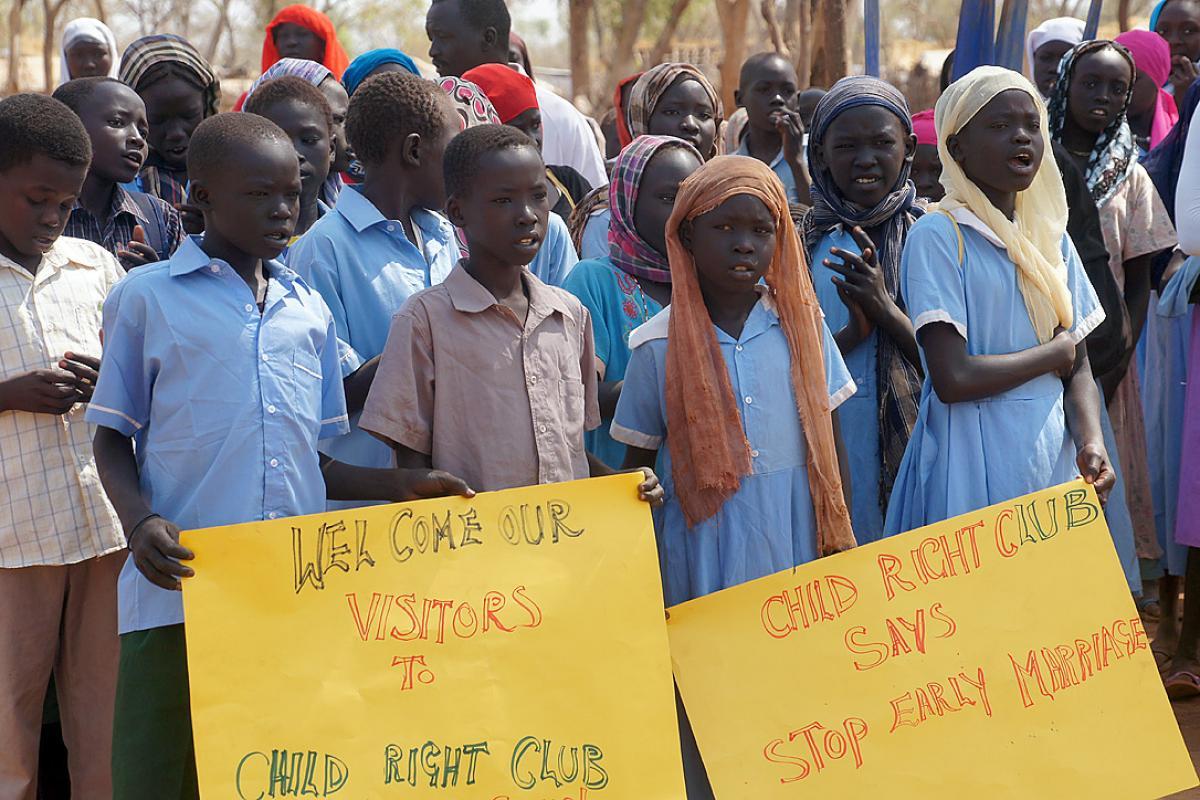 Child rights club in Kaya refugee camp, South Sudan. Photo: LWF/ C. Kästner