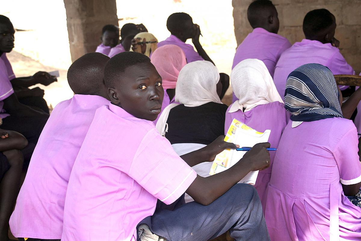 ALP level 3 students in class in Yusuf Batil refugee camp, Maban county, South Sudan. Photo: LWF/C. Kästner
