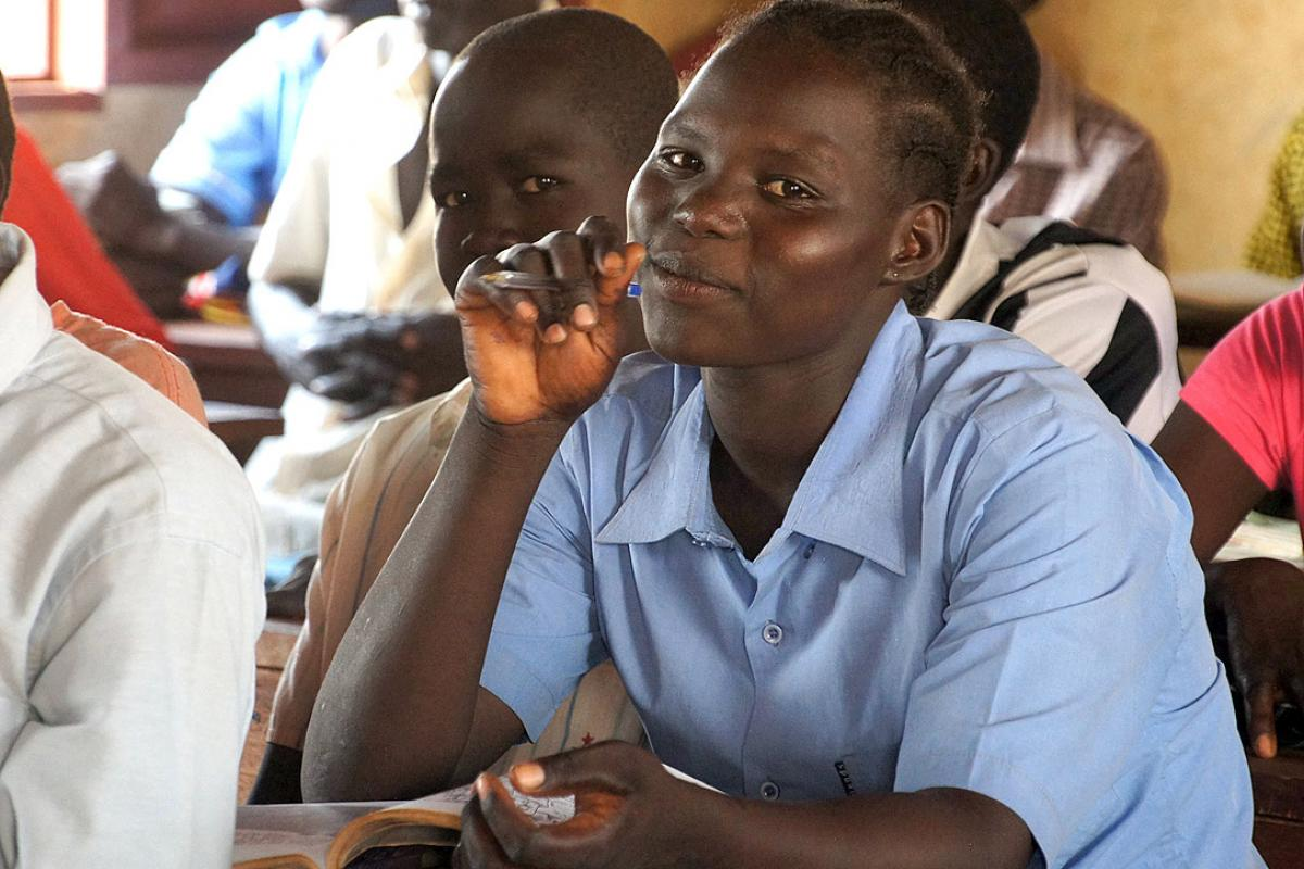 ALP students at Napatat Primary School, Ajuong Thok refugee camp. South Sudan. Photo: LWF/C. Kästner