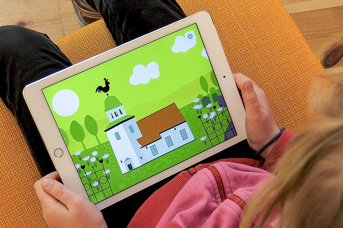 Child using the application, developped by the Church of Sweden. Photo: Church of Sweden
