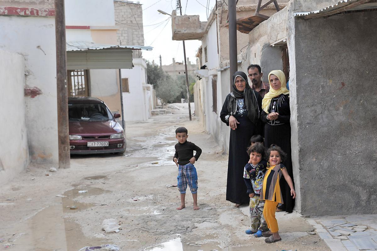 Syrian refugees living in the host community of Al Mafraq, ten kilometres from Zaatari camp, Jordan. Photo: LWF/ M. Renaux