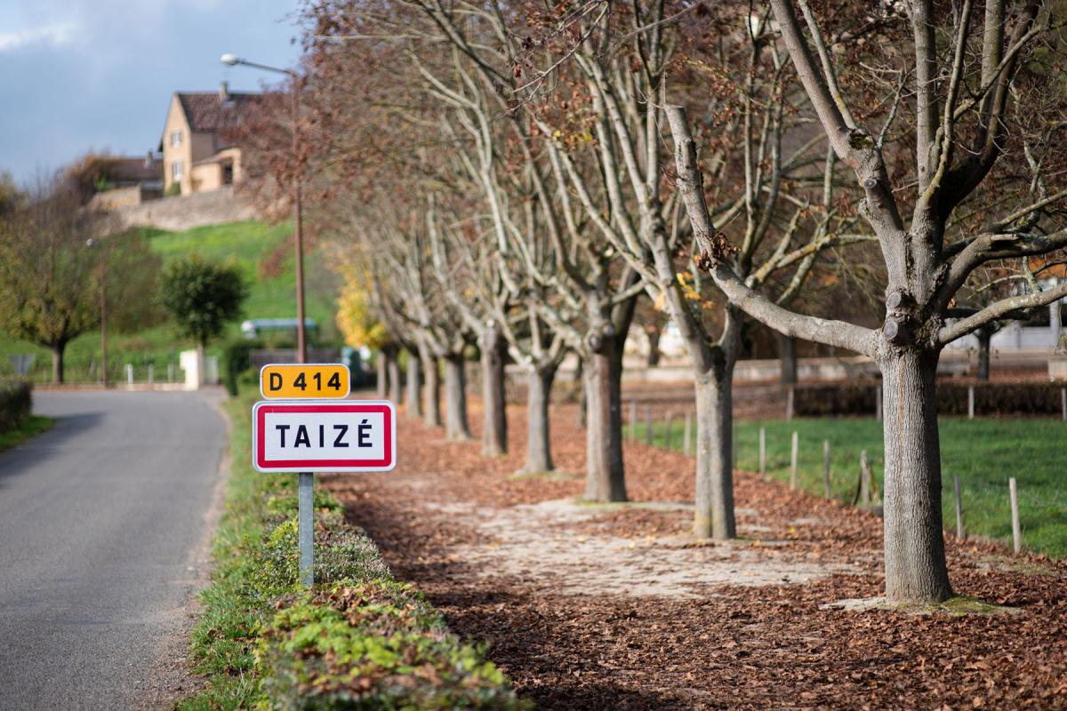 Road sign for the village of Taizé in central France where the ecumenical community was founded in 1940 by Brother Roger Schütz. Photo: LWF/M. Renaux