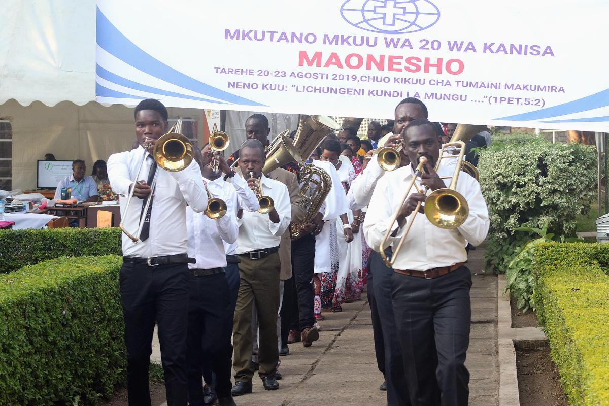 A brass choir leads a procession at the 20th General Assembly of the ELCT at Tumaini University in Makumira, near Arusha, Tanzania. Photo: ELCT/Neng'ida Lairumbe
