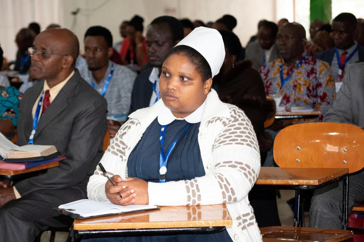 Delegates follow a presentation at the 20th General Assembly of the ELCT at the Tumaini University in Makumira, near Arusha, Tanzania. Photo: ELCT/Neng'ida Lairumbe