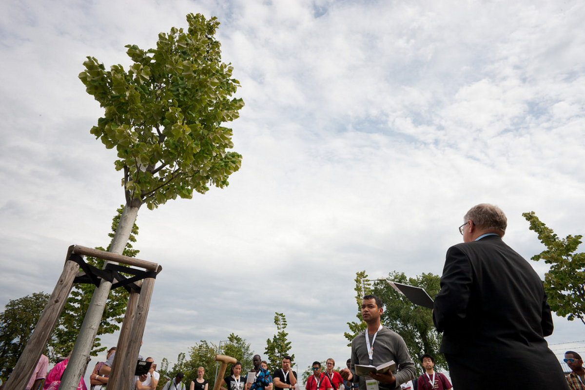 Rev. Hans W. Kasch, Director of the LWF Center Wittenberg, leading the symbolic tree planting in the Luthergarten.