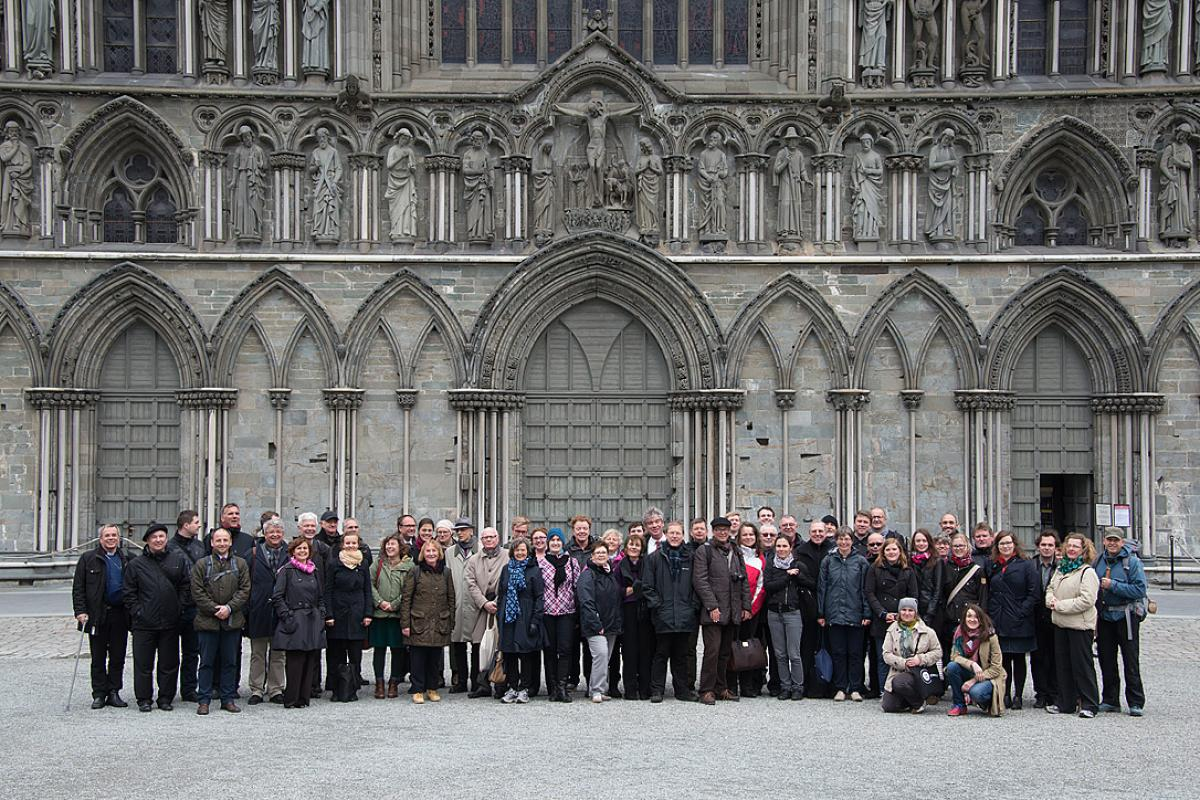 Delegates of the Trondheim Church Leadership Consultation at Nidaros Cathedral. Photo: LWF/Ryan Rodrick Beiler