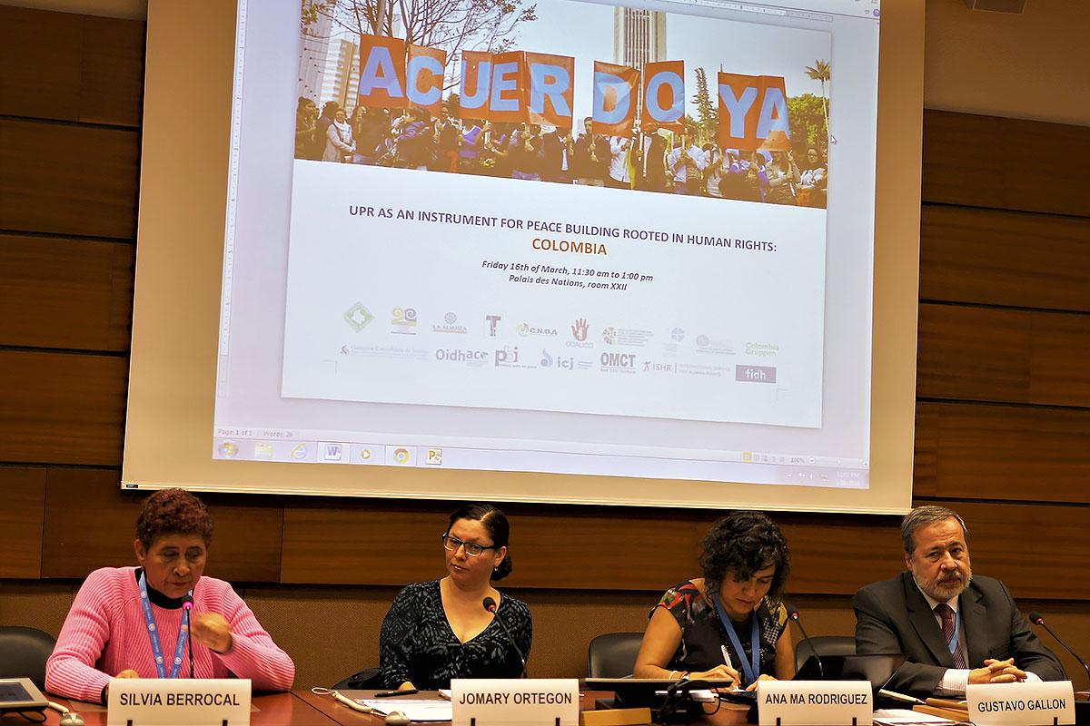 Members of the Colombian Commission of Jurists detail the situation in their country at a Human Rights Council side event on 16 March 2018. Photo: LWF/ Peter Kenny