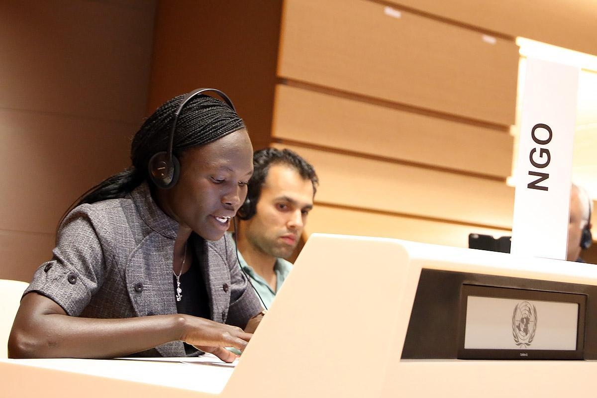 Rose Nathike Lokonyen at the Global Compact on refugees Consultation. Photo: LWF/ Peter Kenny