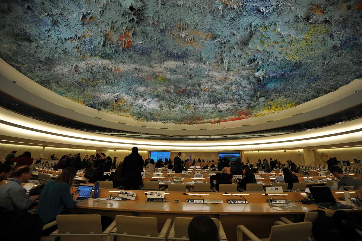 The ceiling of the Human Rights Council, in the Palais des Nations where sessions typically take place. Due to the COVID-19 crisis, statements to the 48th session were submitted virtually. Photo: LWF/C. Kästner