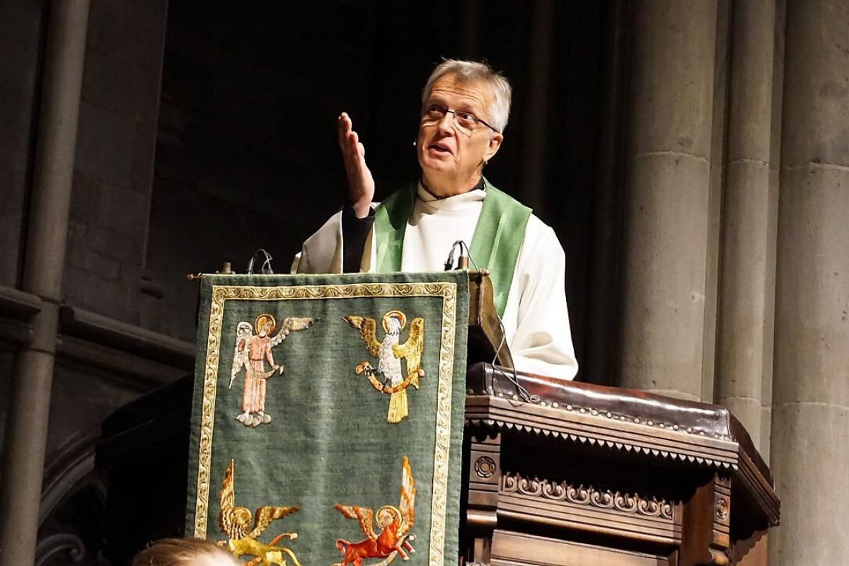 LWF General Secretary Rev Dr. Martin Junge preaching in Nidarosdomen, the cathedral in Trondheim, Norway. Photo: Church of Norway