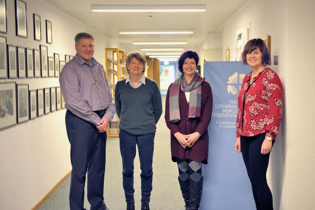 From left to right, Wartburg professor of pastoral theology, Rev. Nathan Frambach, LWF's communications officer, Philippa Hitchen, 3rd year student Carrie Petersen and 2nd year student Marietta Nelson-Bitte. Photo:LWF/N. Torrecillas