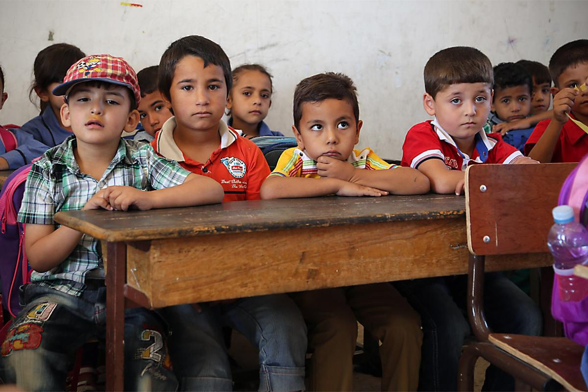With the huge influx of Syrian refugees, classrooms in Mafraq public schools are even more crowded than usual.  Photo: LWF/Mats Wallerstedt