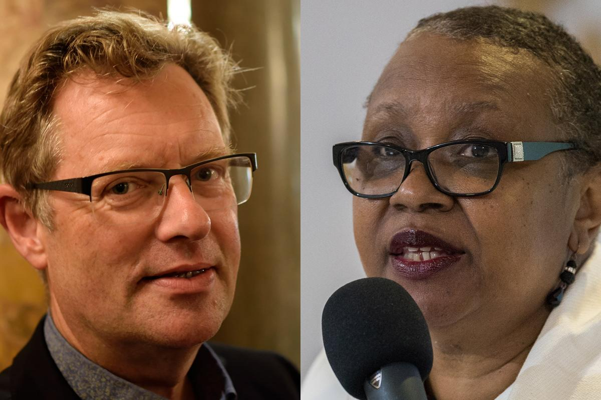 Theology professor Niels Henrik Gregersen (left), from the University of Copenhagen, and Rev. Dr Beverly Wallace, associate professor of congregational and community care at Luther Seminary in St Paul, Minneapolis. Photo: Private / LWF/Albin Hillert