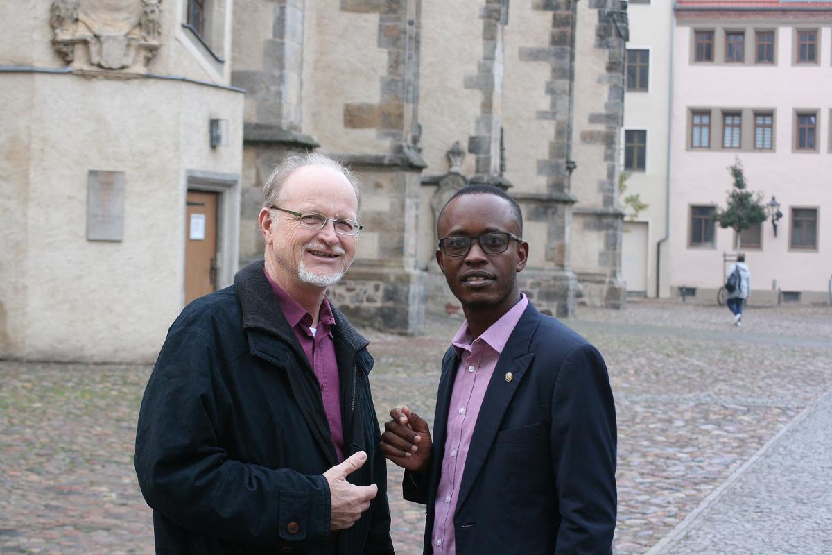 Namibian Lutheran pastors Rev. Klaus-Peter Tietz (left) and Rev. Isak Malua. Photo: LWF/A. Weyermüller