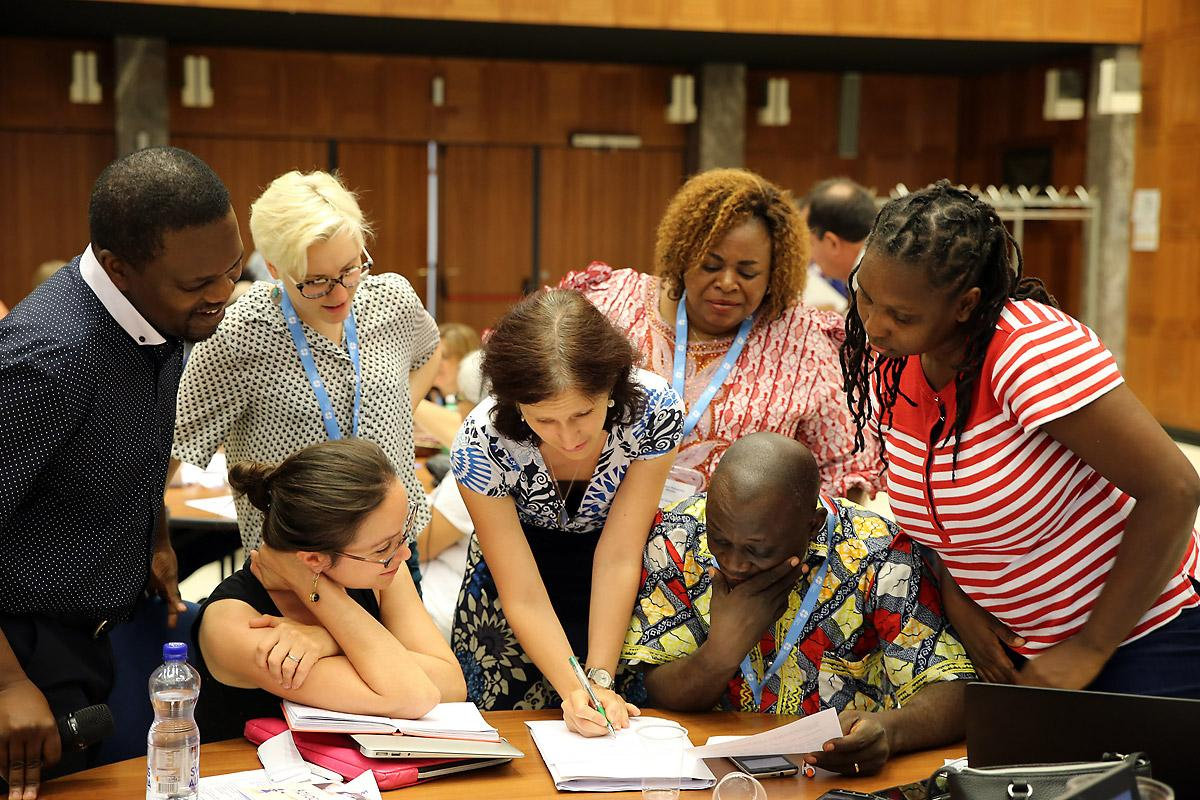 Participants in a group meeting at the faith-based organizations' training on advocacy for women's human rights, co-hosted by the LWF and other FBOs. Photo: LWF/Peter Kenny
