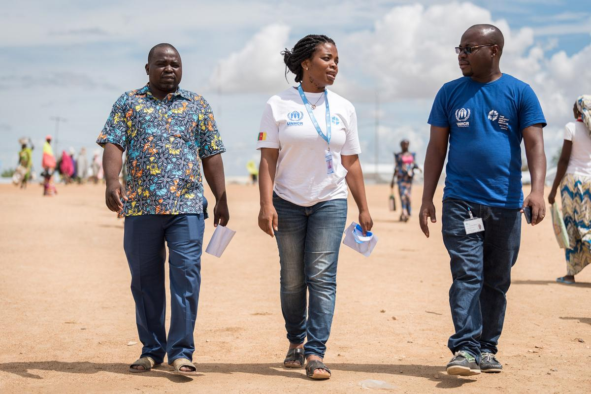 LWF staff in Minawao refugee camp, Cameroon. More than 90 percent of the 8,000 LWF field staff are from the countries they work in, and often part of the communities they serve. Photo: LWF/ A. Hillert