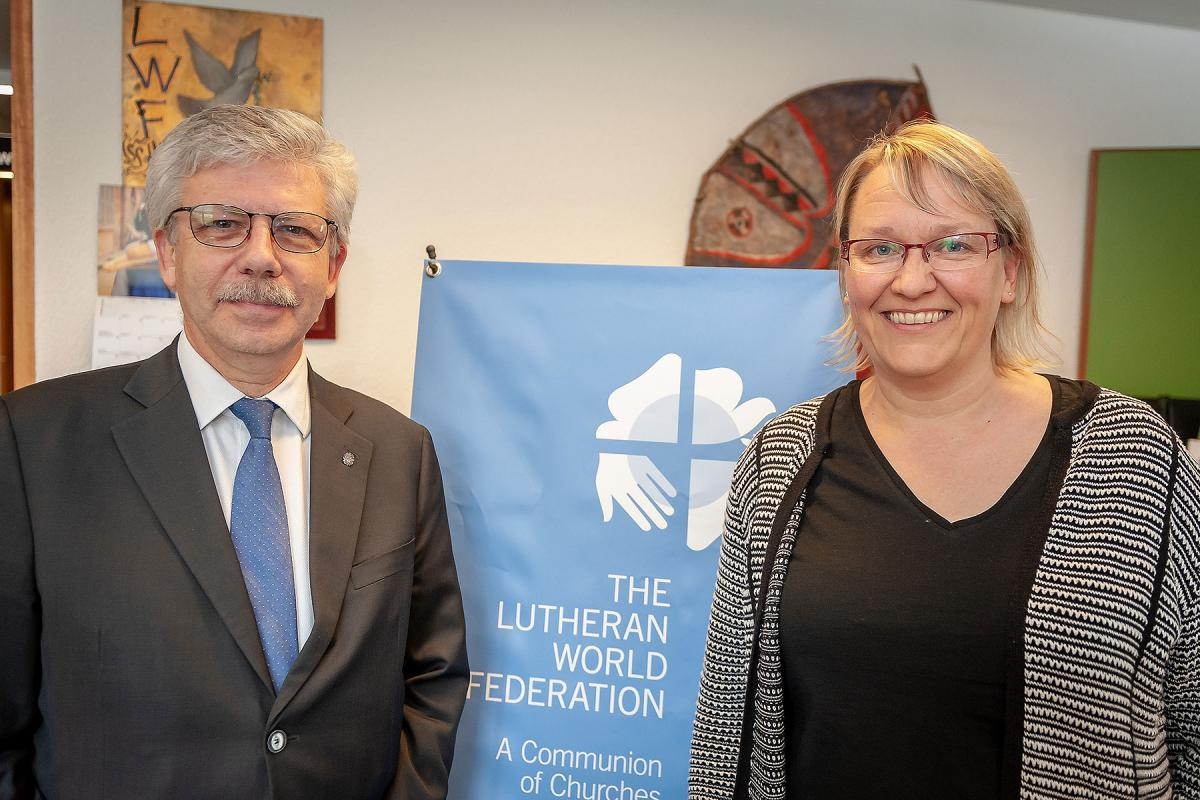 Caritas Secretary General Michel Roy and World Service Director Maria Immonen at LWF's Geneva headquarters. Photo: S.Gallay/LWF